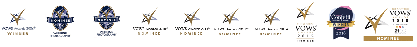 VOWS winners and nominees for Wedding Photography in Scotland, Glasgow & Edinburgh
